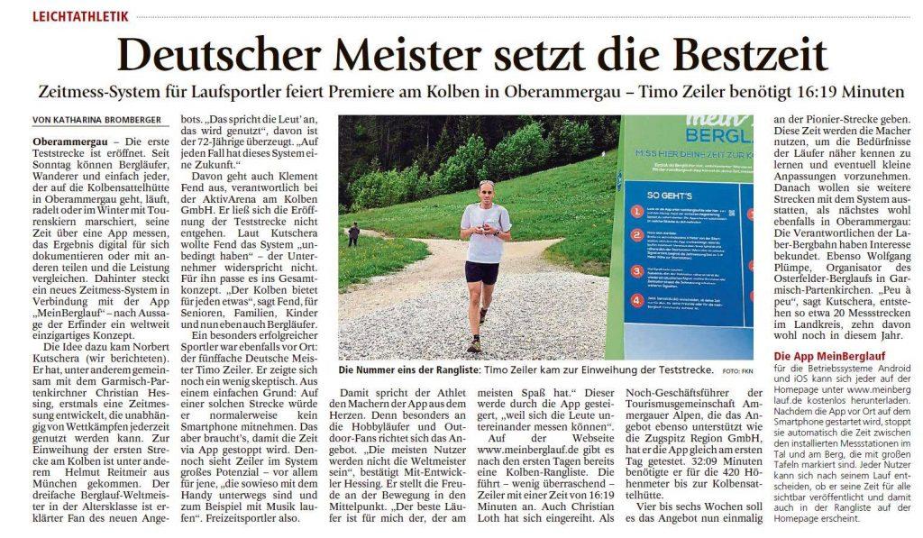 meinBerglauf startet durch im Garmisch-Partenkirchener Tageblatt